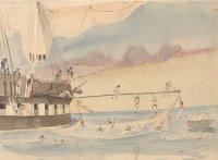 Owen Stanley: »Flaute nahe des Äquators – ab ins Wasser« (1848)