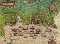 Francis Drake: Karte von Cartagena (Kolumbien) (1585)